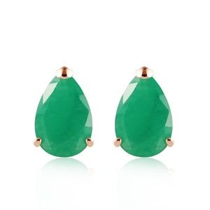 Galaxy Gold Products Jewelry - 14K. SOLID GOLD STUD EARRING WITH NATURAL EMERALDS